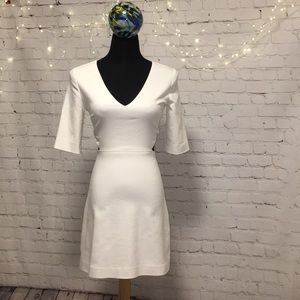 Zara White Mini Dress With Cutouts